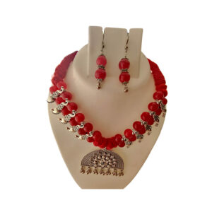 Oxidized Red Beads necklace with leaf design - Rangrasiya- Necklace-Beads-012